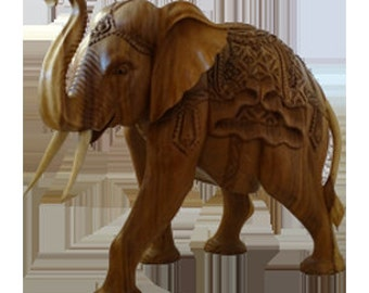 Elephant Wood Sculpture Hand Carved
