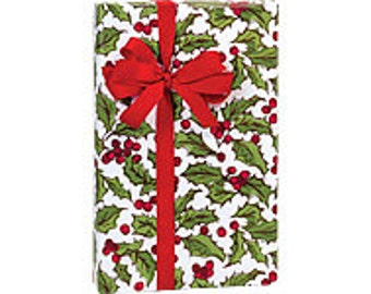 White, Green, and Red Holly Berry Toss Christmas Script Gift Wrap Paper -15ft