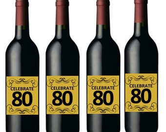 Celebrate 80 - 80th Birthday Wine Bottle Labels -8pack