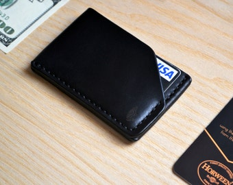 Horween leather Cardholder Wallet in Chromexcel Black. Business Card Case. Handsewn