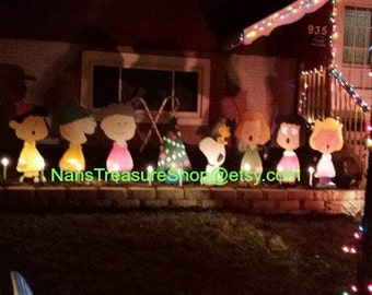 Handmade, Wood Outdoor 8 piece Charlie Brown Christmas set