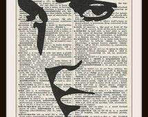 Elvis Presley Face  Silhouette--Vintage Dictionary Art Print---Fits 8x10 Mat or Frame