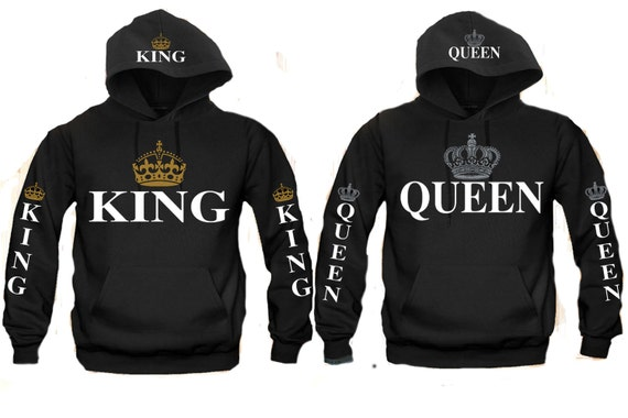 king and queen couple matching hooded hoodie sweatshirt by. Black Bedroom Furniture Sets. Home Design Ideas