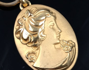 Vintage wire jewelry etsy napier necklace gold cameo pendant gold neck wire vintage 70s signed napier oval aloadofball Images
