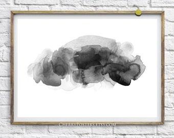 Rain Cloud - Watercolor Print - Home decor wall art, watercolor painting, watercolor art, black cloud, watercolor storm cloud, cloud poster.