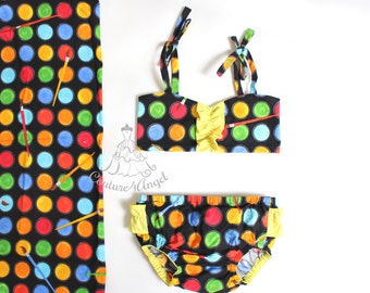 Made to order Baby swimsuit Art Class Kanvas - Baby bathing suit 6m 12m 18m 24m 3T 4T 5T 6T - Baby Swimwear - Baby girl swimsuit