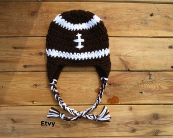 Crocheted Baby Football Hat Newborn Baby Girl Beanie, Sports Baby Boy Football Earflap Hat - Photo Prop