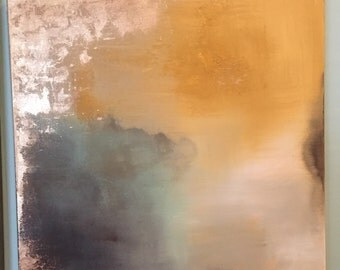 """SOLD OUT Gold Leaf Yellow Brown Neutral Abstract Paintings - """"Aerial Storm Series"""" in 24"""" x 24"""""""
