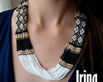 Folk Ukrainian necklace . Ukrainian Beads Neclace. Gerdan to vyshyvanka