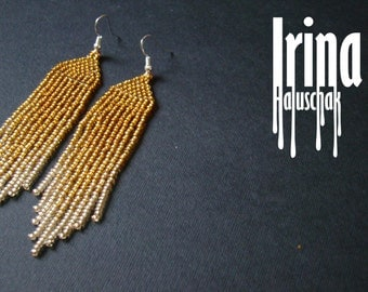 Beaded earrings, seed bead earrings, modern earrings, boho earrings, fringe earrings, beadwork jewelry, gradation from gold to light gold