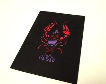 A6 Hand-Cut Geometric Lobster Greetings Card