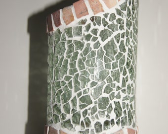 Mosaic candleglass from recycled winebottle Nr. 155