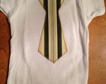 Onesie with Green Stripe Applique tie.