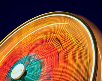 Fast Ferris Wheel, County Fair, Colorado, Fine Art Photography, True North Photography, Summer Fun, Digital Download, Night Photography