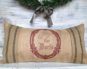 FRENCH INSPIRED CHRISTMAS Pillow, Burlap, Jute Webbing