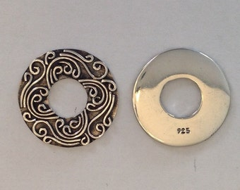 Sterling Silver Washer with Fancy Scroll Pattern