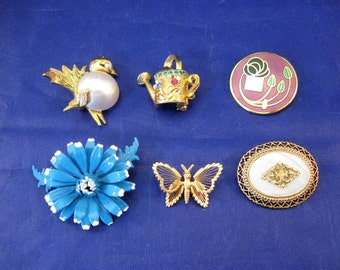 Lot of 6 Vintage Pin or Brooches - Monet, Napier and Other