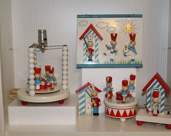 IRMI LAMP 5 Piece Set  Baby Child's Babe's in Toyland Toy Soldiers Nursery Lamp, Nightlight, Switch Plate, music box and Picture Plaqur lot