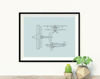 Art Print OR Canvas, Vintage Airplanes, Airplane Art, Modern Nursery Art, Modern Boy's Room Art, Canvas Wall Art, Vintage Nursery, Poster