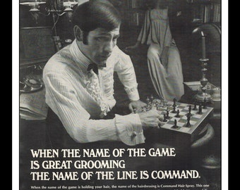"Vintage Print Ad August 1969 : Command ""The Name Of The Line Is Command"" Chess Advertisement Color Wall Art Decor 8.5"" x 11"""