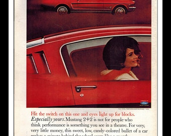 """Vintage Print Ad December 1964 : Ford Mustang 2+2 Car Automobile Wall Art Decor 8.5"""" x 11"""" Advertisement"""