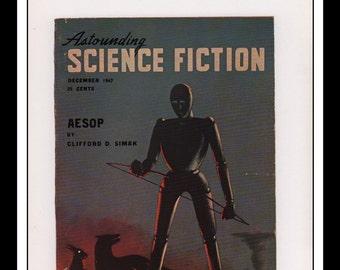 "Vintage Print Ad Sci Fi Cover : Astounding Science Fiction December 1947 Alejandro Illustration Wall Art Decor 8.5"" x 11 3/4"""