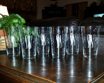 Monogrammed Etched Pint Glasses