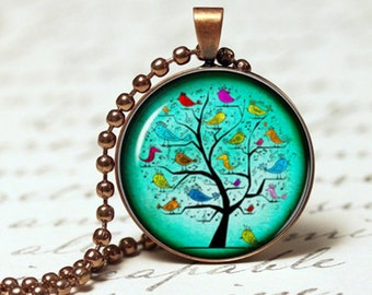 Blue Tree of life pendant necklace