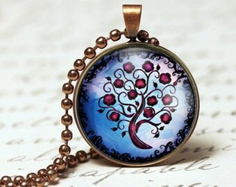 Purples and pinks tree of life pendant necklace