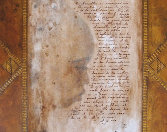 Reproduction of painting - art Reproduction - poetic letter - hear your whispers - collection letters from the desert