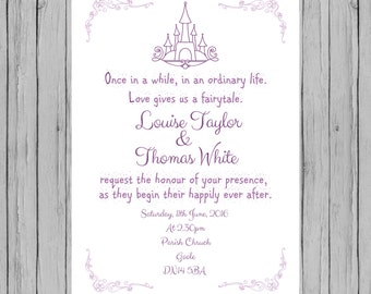 Fairytale wedding invitations, printable fairytale invites, prince and princess wedding, fairytale themed wedding, happily ever after.