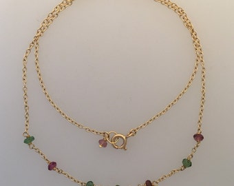 Solid 18k yellow gold necklace with faceted green & pink tourmalines (LCN001)