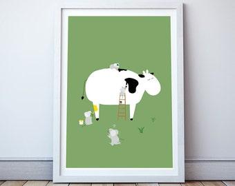Paint the Cow Print - Nursery Decor, Kids Wall Art