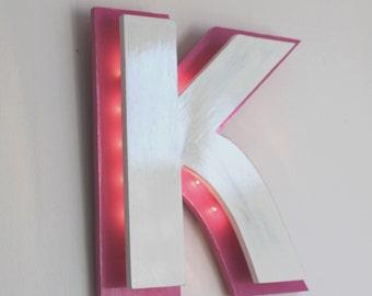 Letter K light type sign custom color - mylittledecor - neon pink - teen decor - bright giant letter