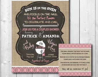 """Couples Baby Shower Invitation...""""Bun in the Oven"""" and matching Book Request/DIGITAL FILES/ wording and colors can be changed"""