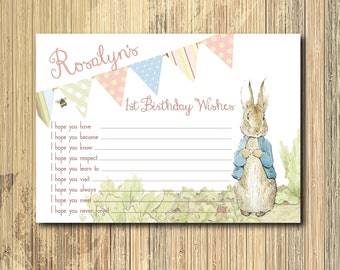Vintage Peter Rabbit Birthday Wish Card / DIGITAL FILE / printable / wording and ink color can be changed