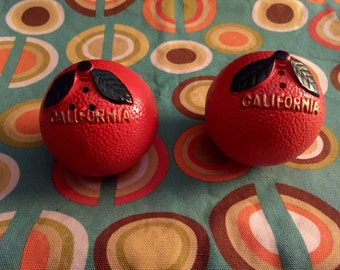 Vintage Orange Salt and Pepper Shakers Souvenir of California