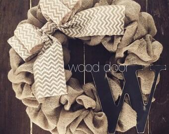 "Spring Chevron Burlap Wreath, LARGE Burlap Wreath with Initial, LARGE 22"" White Chevron Stripe Bow, Monogram, spring Easter wreath"