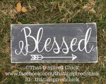 Rustic Distressed Blessed Wood Sign | Farmhouse Decor | Fixer Upper | Small Sign |Black | White | Dark Grey | Arrow | Gallery Wall | Blogger