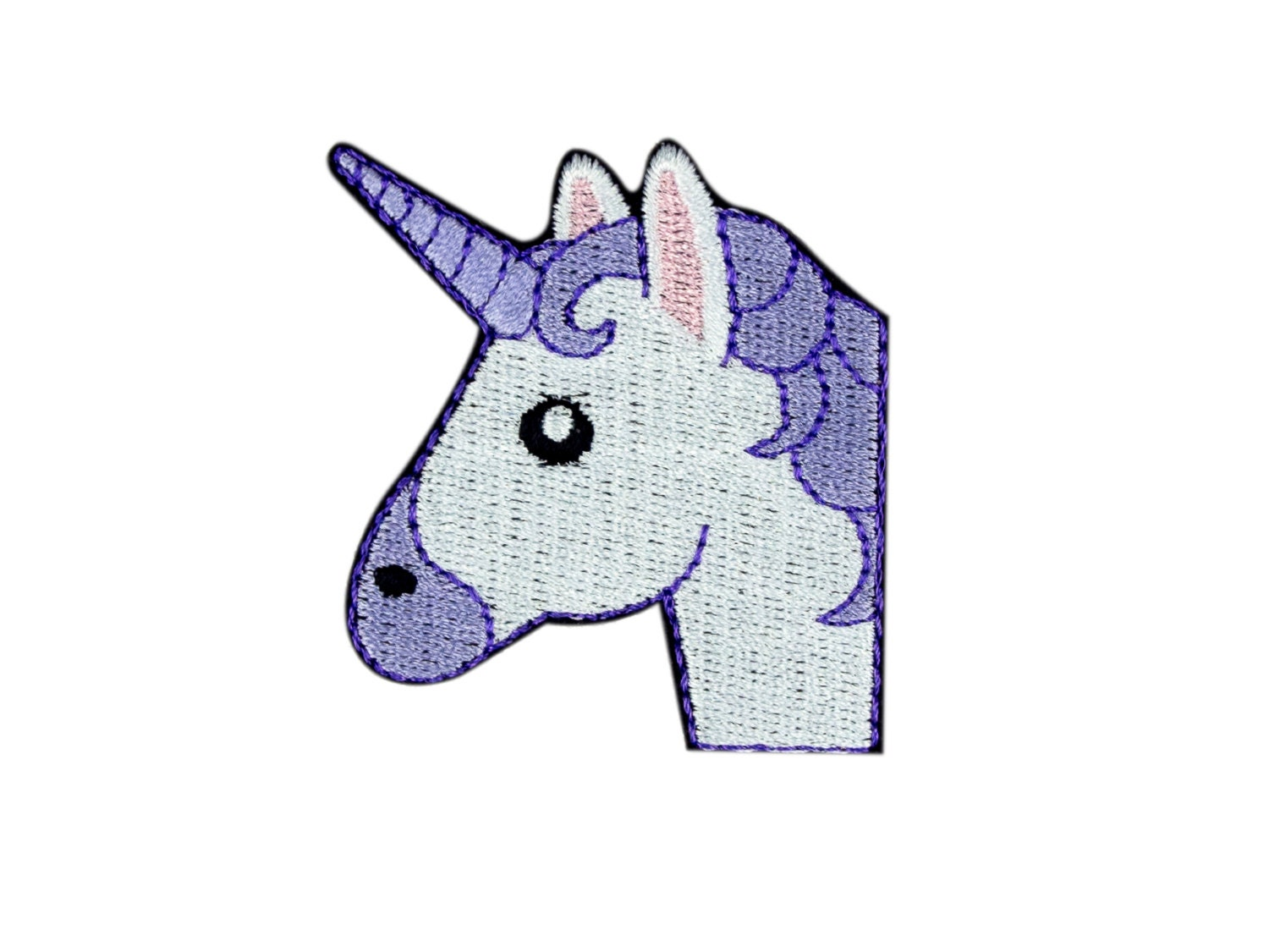 Unicorn face emoji embroidered iron on patch free shipping