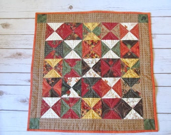 Fall Table Quilt - Square Quilt Topper - Quilted Table Topper - Quilt Table Runner - Fall Decor Quilt - Fall Centerpiece - Housewarming Gift