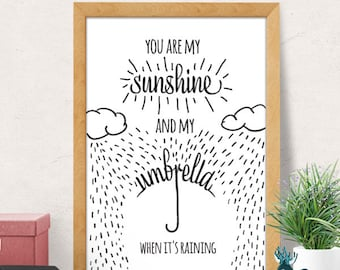 You are my sunshine wall art, Nursery wall decor, Kids room decor, Nursery wall art, Typography nursery, Quote art print, Kids room art
