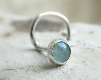 aventurine nose stud ring - green stone nose stud - silver nose stud - nose jewelry