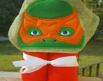 Ninja Turtles Mikey(Michelangelo) Hooded Towel with FREE EMBROIDERED NAME