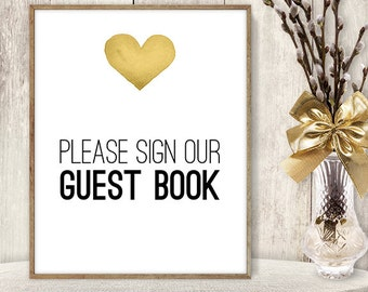 Please Sign Our Guest Book Sign DIY / Yellow Gold Heart, Watercolor Heart Sign / Printable PDF Wedding Sign ▷ Instant Download