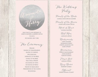 Silver Wedding Program / Metallic Silver and Blush Pink / Blush and Gray / Bridal Party, Schedule  ▷ Printable File {or} Printed & Shipped