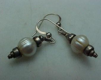 Vintage Pearl and Sterling Silver Dangle Earrings ~ Romantic Vintage Beauties