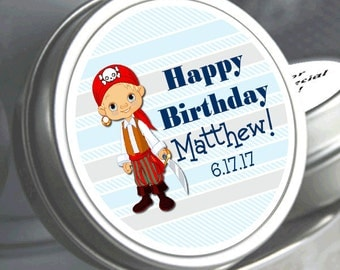 """12 Personalized Little Pirate Birthday Mint Tins - Need a different quantity? Click on the """"choose total"""" tab to see all pricing"""