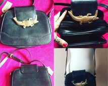 Vintage Leather Bag With Alligator Clasp - Medium Size