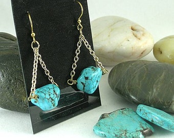 Turquoise Nugget Chain Earrings - Native American - Aztec - Southwest